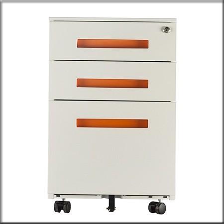 钢制三抽柜-橙扣手